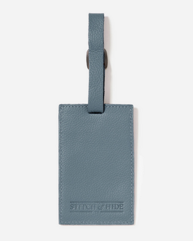 Stitch & Hide Leather Miles Luggage Tag Storm Blue