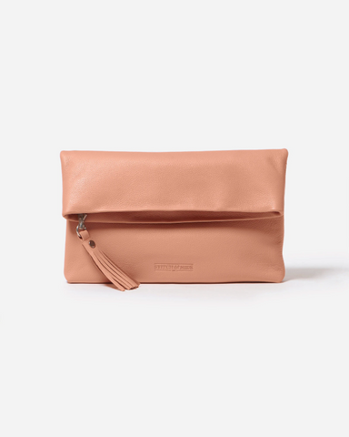 STITCH & HIDE LEATHER LILY CLUTCH CORAL ORANGE - FREE KEYRING