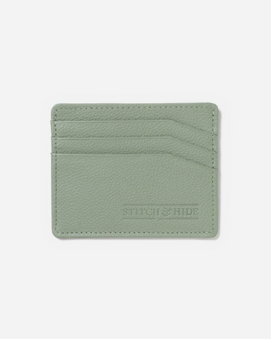 STITCH & HIDE LEATHER ALICE CARDHOLDER SAGE GREEN