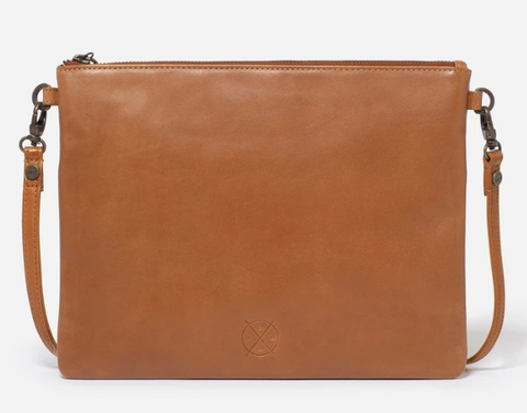 STITCH & HIDE LEATHER JULIETTE CROSSBODY/CLUTCH BAG - CLASSIC COLLECTION - ALMOND BROWN -FREE KEYRING