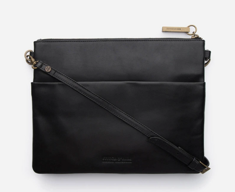 STITCH & HIDE LEATHER JULIETTE CROSSBODY/CLUTCH BAG - CLASSIC COLLECTION -BLACK - FREE KEYRING