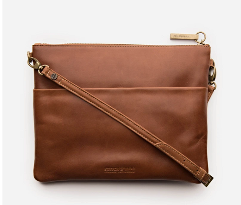 STITCH & HIDE LEATHER JULIETTE CROSSBODY/CLUTCH BAG - CLASSIC COLLECTION - MAPLE BROWN -FREE KEYRING
