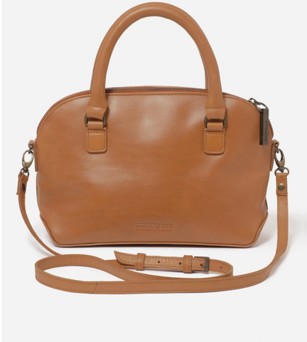 STITCH & HIDE LEATHER HEIDI CROSSBODY/HANDBAG  - CLASSIC COLLECTION - ALMOND BROWN - FREE WALLET POUCH