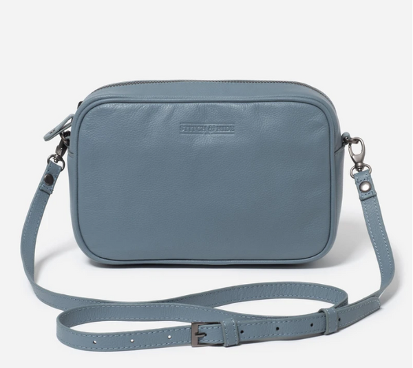 STITCH & HIDE WASHED LEATHER TAYLOR CROSSBODY BAG - STORM BLUE - FREE KEYRING