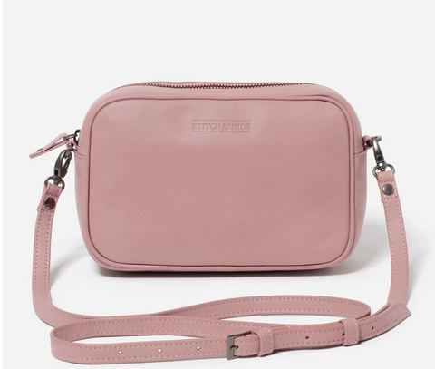STITCH & HIDE WASHED LEATHER TAYLOR CROSSBODY BAG - DUSTY ROSE - FREE KEYRING