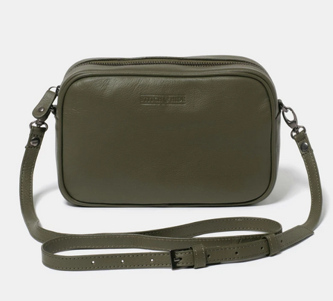 STITCH & HIDE WASHED LEATHER TAYLOR CROSSBODY BAG - OLIVE GREEN - FREE KEYRING