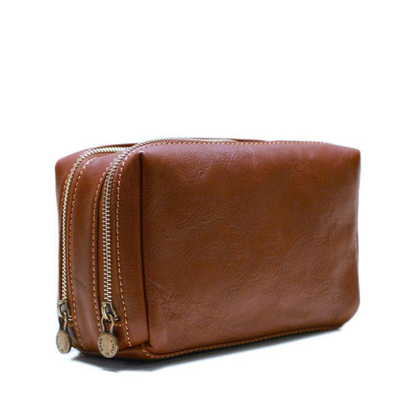 Floto Italian Siena leather dopp kit toiletry bag brown