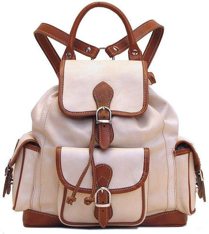 FLOTO TOSCANA LEATHER BACKPACK IVORY/BROWN