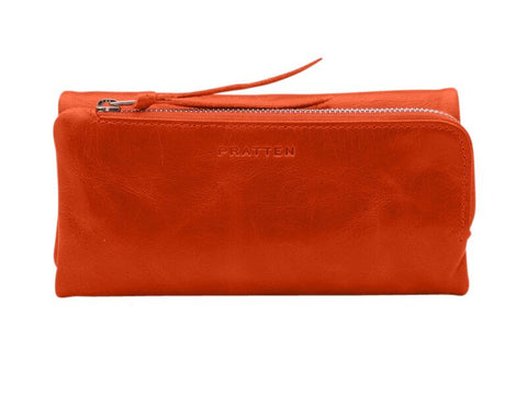 PRATTEN Leather Trifold Wallet - Orange