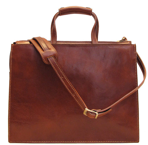 FLOTO Trastevere Leather Attache Vecchio Brown