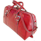 Floto Italian Leather Trastevere Duffle Bag Carryon red