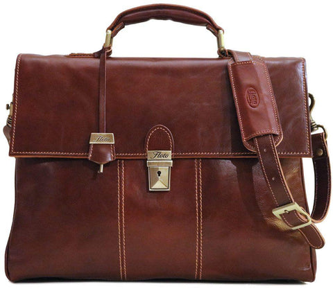 FLOTO VENEZIA LEATHER LAPTOP BRIEFCASE VECCHIO BROWN