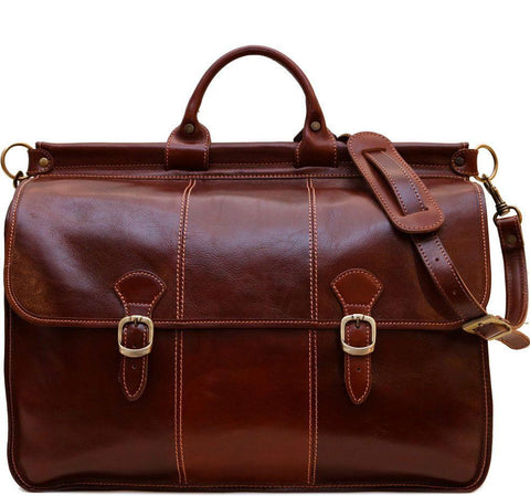 FLOTO VAGGO LEATHER DUFFLE BAG VECCHIO BROWN
