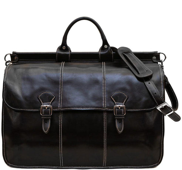 FLOTO VAGGO LEATHER DUFFLE BAG BLACK