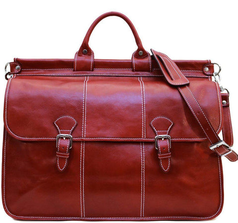 FLOTO VAGGO LEATHER DUFFLE BAG TUSCAN RED