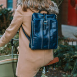 FLOTO VENEZIA LEATHER KNAPSACK/BACKPACK NAVY BLUE