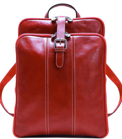 FLOTO VENEZIA LEATHER KNAPSACK/BACKPACK TUSCAN RED