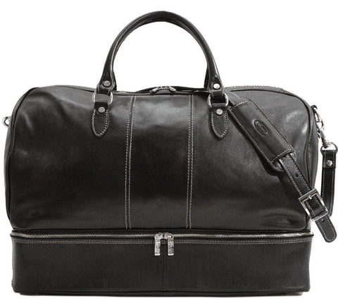 FLOTO VENEZIA TRAVELER LEATHER DROP BOTTOM DUFFLE BLACK