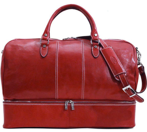 FLOTO VENEZIA TRAVELER LEATHER DROP BOTTOM DUFFLE TUSCAN RED