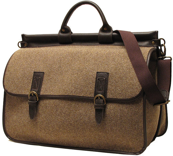 FLOTO Leather & Wool Blend Vaggo Duffle Brown