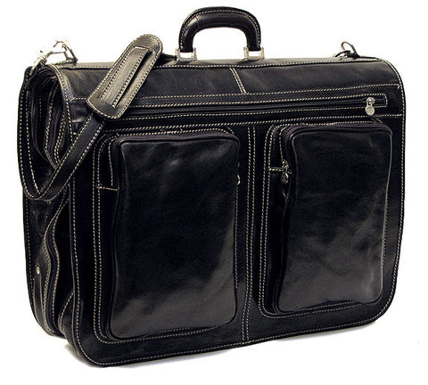 FLOTO Venezia Leather Garment Bag Black