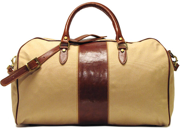 FLOTO Venezia Leather & Canvas Duffle Vecchio Brown