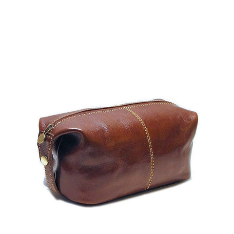 Floto Italian Venezia leather dopp kit toiletry bag brown