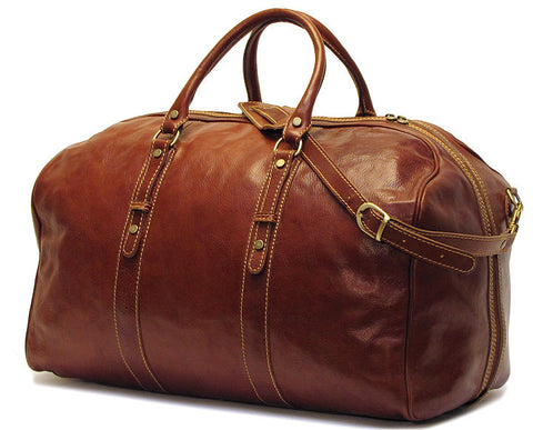 FLOTO Venezia Grande Leather Duffle Vecchio Brown