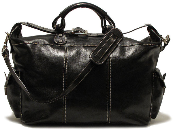 FLOTO Venezia Leather Travel Tote Black