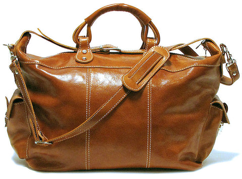 FLOTO Venezia Leather Travel Tote Olive Honey Brown