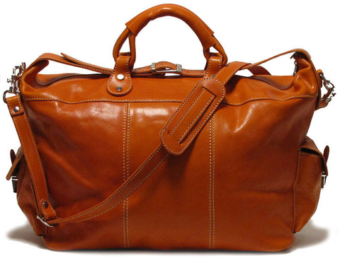 FLOTO Venezia Leather Travel Tote Orange