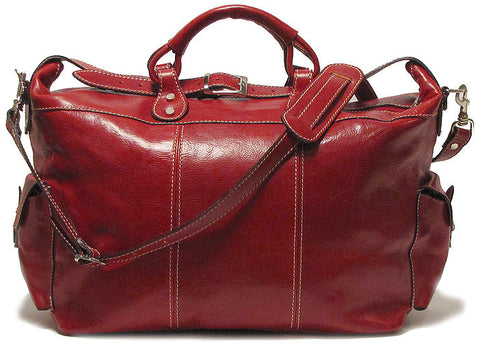 FLOTO Venezia Leather Travel Tote Tuscan Red