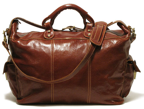 FLOTO Venezia Leather Travel Tote Vecchio Brown
