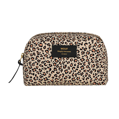 Wouf Big Beauty Cosmetic Bag Pink Savannah Leopard