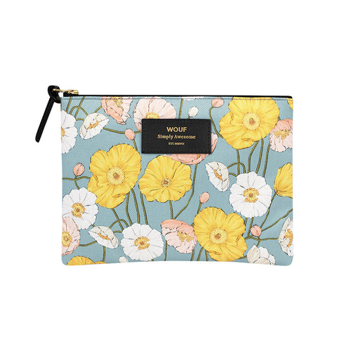 Wouf Large Pouch Clutch Alicia Floral Blue