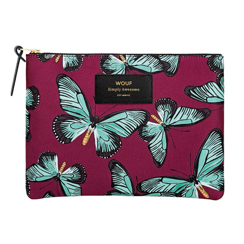 Wouf Large Pouch Clutch Butterfly Red