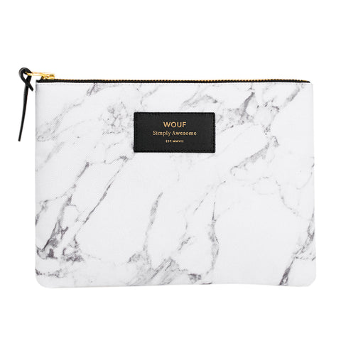 Wouf Large Pouch Clutch White Marble