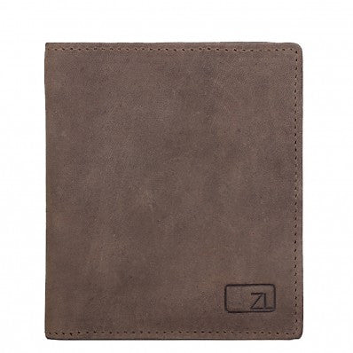 ZOOMLITE Vintage Leather RFID Toby Folding Card Holder Wallet Grey