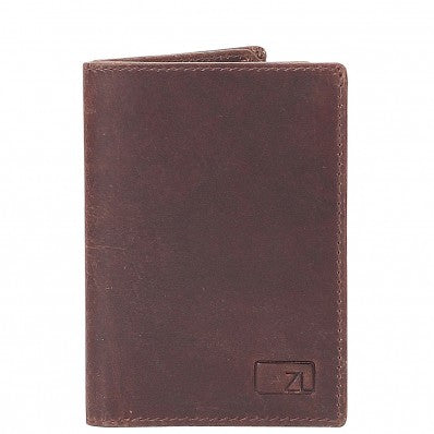 ZOOMLITE VINTAGE LEATHER CAMBRIDGE RFID BLOCKING CREDIT CARD HOLDER BROWN