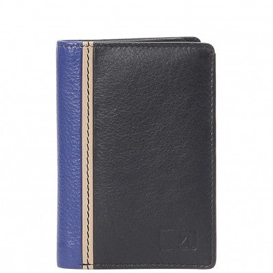 ZOOMLITE Classics Cowhide Leather RFID Blocking Credit Card Holder Black/Blue