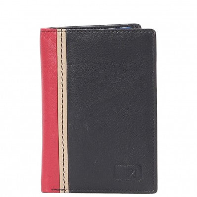 ZOOMLITE Classics Cowhide Leather RFID Blocking Credit Card Holder Black/Red