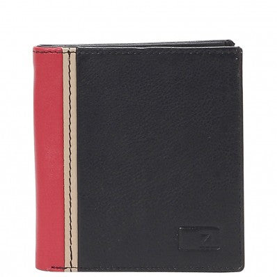 ZOOMLITE Classics Cowhide Leather RFID Blocking Card Holder with Money Clip Black/Red