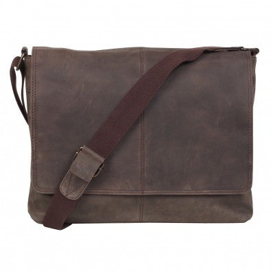 ZOOMLITE Vintage Leather Parker iLaptop Bag Brown