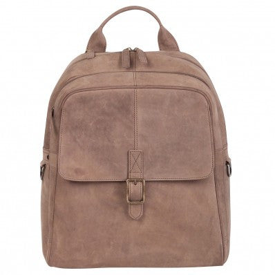 ZOOMLITE Vintage Leather Toby Laptop Backpack Grey