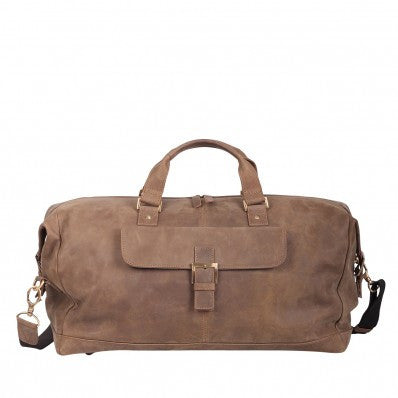 ZOOMLITE Vintage Leather Toby Weekender Duffle Grey