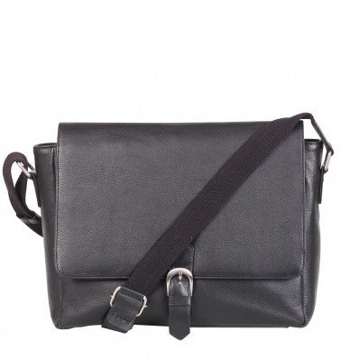 ZOOMLITE Classic Leather Alexander Single Buckle Messenger Black