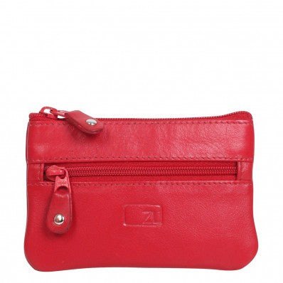 ZOOMLITE Classic Leather Arlington Zip Key Holder Red