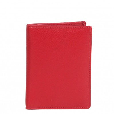 ZOOMLITE RFID Classic Leather Arlington Flap Card Note Sleeve Red