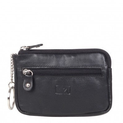 ZOOMLITE Classic Leather Boston Zip Key Holder Black