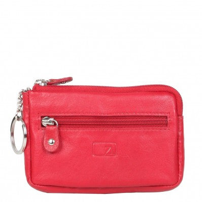 ZOOMLITE Classic Leather Boston Zip Key Holder Red